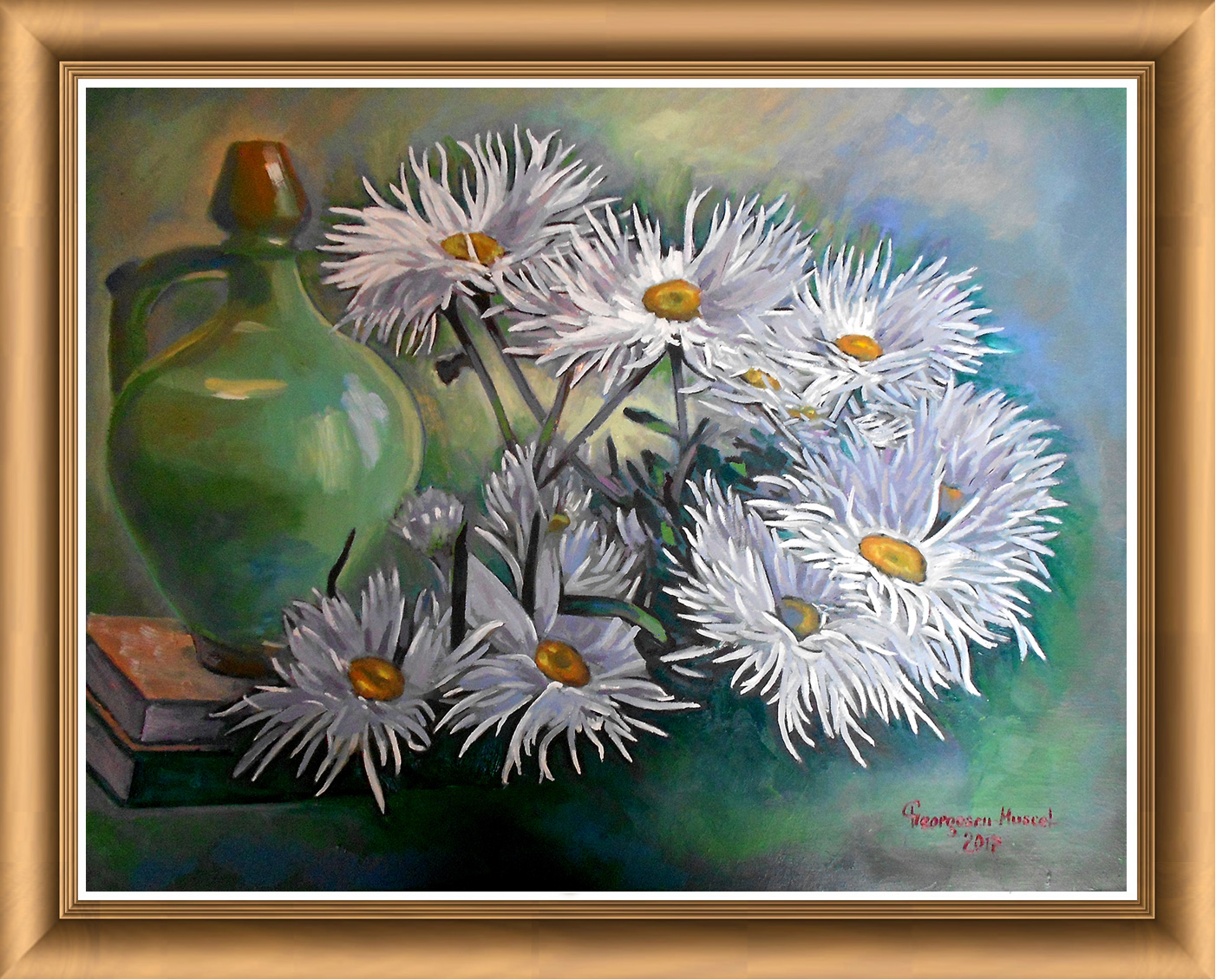 Composition with jug and daisies