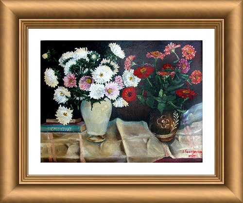 Vase of flowers on towel